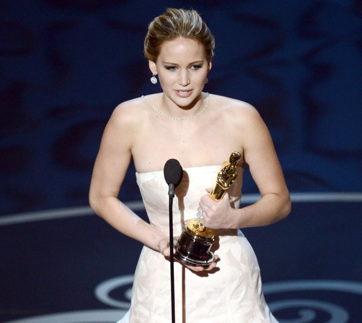 Jennifer Lawrence wins best actress at the 2013 Oscars