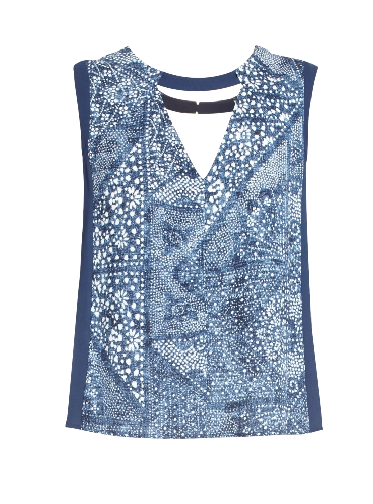 Crosby Print-Blocked Sleeveless Top in Parisian Blue Combo